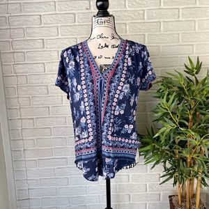 Lucky Brand Boho Floral Navy Blue Top
